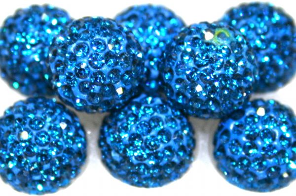 8mm Blue 70 Stone  Pave Crystal Beads- 2 Hole PCB08-70-026